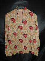 Tianello L Brown Red Poppy Flower Print Blouse Floral Shirt Long Sleeve V Neck L