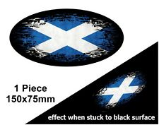 Oval FADE TO BLACK Scotland Scottish Saltire Flag vinyl car sticker Decal 150mm
