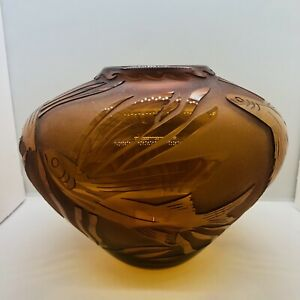"""Correia Glass Amber Flying Fish Vase Signed Limited Edition 8585 LA 7.25"""" H 2004"""