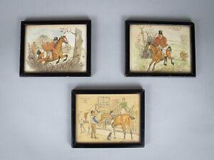 3 x Original Ink Watercolour Comic Hunting Illustrations by Charles Edmund Brock