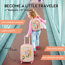 """2PC Kids Luggage Set 18"""" Suitcase +12"""" Backpack Carry On Bag Travel Trolley Gift"""