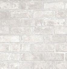 LOFT BRICK METALLIC WHITE SILVER GREY BRICK WALL WALLPAPER FINE DECOR FD41953