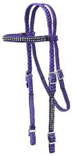 Western Browband Headstall -Reins- Hand Braided Cord - Crystals - Purple - Black