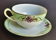 Antique Porcelain TEA CUP SAUCER Crown HAND PAINTED NIPPON Violets Gold Moriage