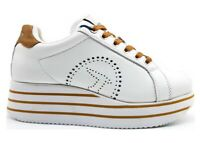 Scarpe da donna Trussardi Jeans 79A00557 sneakers casual platform bianco pelle
