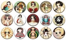 """ANGELIQUE HOUTKAMP ART - Lot of 15 - Pin Back - 1"""" Buttons Badges (One Inch)"""