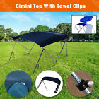 3 Bow Boat Bimini Top 6ft Canopy Cover 61-66 Free Clips Support Poles Bb3n1
