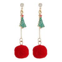 Christmas Tree Drop Dangle Earrings Chain Pom Pom Ear Studs Jewelry Gift WomenPY