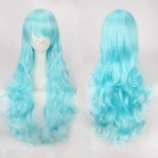 "Cosplay Wig Aqua Blue Approx 30 "" Wavy with Fringe Party Costume Hair"
