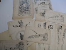 ANTIQUE COLLECTION OF ORIGINAL DRAWINGS ILLUSTRATIONS FOR THE BOOK BY HUBBARD