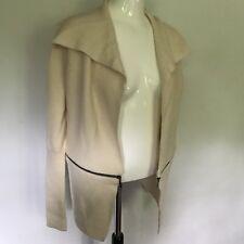 MEXX METROPOLITAN Cardigan Rib Knit Cream Angora Blend Cool Zip Design UK L
