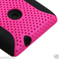 NOKIA LUMIA 520 AT&T CRICKET HYBRID MESH CASE SKIN COVER HOT PINK BLACK
