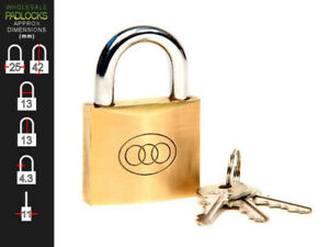 6 x Tri Circle Keyed Alike 25mm Brass Lock Padlocks