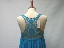 BNWT MADE IN ITALY LAGENLOOK BOHO QUIRKY LAYERED BLUE DRESS LACE INSERT UK M
