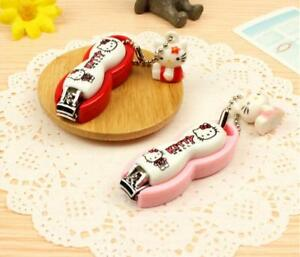 1PC Hello kitty Cartoon Figure Pink Nail Clipper Anime with Cute Pendent Gift