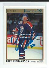 Luke Richardson Signed 1991/92 O-Pee-Chee Premier Card #46