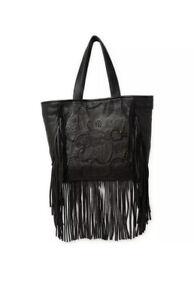 FRYE Vivian Black Leather Fringe Tote Purse