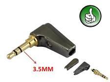 2X Gold 3 Pole 3.5mm 90 Degree Male stereo earphone headphone mini Jack Plug