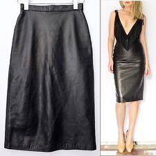 Elegant Vintage Real Leather Black Pencil Skirt, XS/S