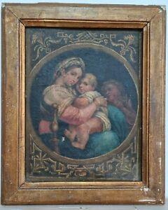 Antico quadro su tela Madonna con Bambino I° metà dell' 800 cornice coeva