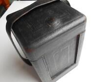 LOVELY VINTAGE ANTIQUE BLACK LEATHER TRAVELLING CARRIAGE CLOCK CASE LARGE