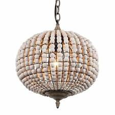 Wood Beads Ball Chandelier 1 Light Pendant Lamp Lighting Ceiling Light Fixture