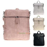 Women Backpack Bookbag Rivet PU Leather Zipper Shoulder Bag Handbag Tote Purse