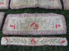 PAIR Antique Vtg Primitive Country Hooked Stair Tread Riser or Table Runner