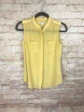 Banana Republic Tank Top Blouse sz 4 silk mustard yellow career pockets light