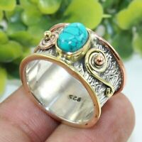 Turquoise Solid 925 Sterling Silver Band Ring Meditation statement Ring sr111