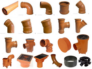Underground Drainage Pipes & Fittings Couplers Bends Covers Sewer Soil 110mm
