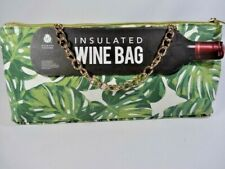 Iceware Tropical Green Palm Leaves Insulated Wine Bag Tote Purse Gold Chain