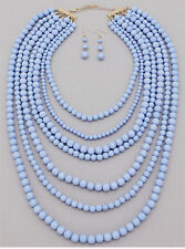 Seven Layers Blue Lucite Bead Gold Tone Chunky Necklace Earring Set