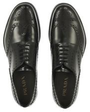 NEW PRADA MILANO MEN'S WINGTIP BLACK LEATHER LOGO CASUAL SHOES 11/US 12
