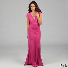 New Savannah Studio-Tabeez Double V-neck Center Shirred Jersey Dress-PINK -L