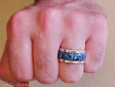 Custom 8 HEAVY SILVER BLACK FIRE OPAL WIDE BAND MENS RING POWERFUL 925 silver