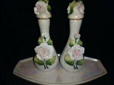 Antique Germany Porcelain Perfume Bottles w/ Applied Flowers Dresser set & Tray