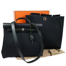 Authentic HERMES HERBAG MM 2 in 1 2way Hand Bag Officier Black Vintage V14709