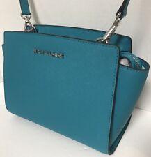 70b7dbeb95a9 NEW Michael Kors Medium Selma Tile Blue Saffiano Leather Crossbody Handbag   228