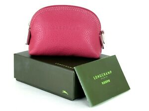 LONGCHAMP Paris Hot Pink Leather Coin Case Accessories Pouch W/ Box Good Used