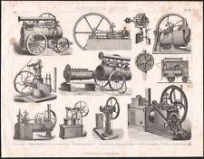 1870 Gravure originale mécanique machine à vapeur Locomobile moteur à gaz