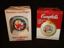 Set of 2 Campbells Vintage Ornaments 1983 1999 Collectors Edition original boxes