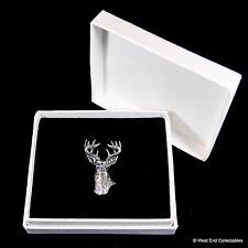 Stag Head Pewter Pin Brooch in Gift Box - Handcrafted Deer Antler Hunting Badge