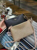 NWT Kate Spade Joeley Glitter Crossbody Bag RoseGold/Black/DustNavy