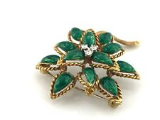 Vintage Tiffany & Co. 18K Yellow Gold & Green Enamel Diamond Flower Brooch, SALE
