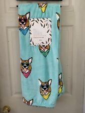 Corgi Dog Plush Throw 50x60 Pembroke Welsh Blanket New Teal Soft Sunglasses