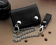Mens Boys Trifold Biker Trucker Real Leather Wallet with Belt Clip Long Chain