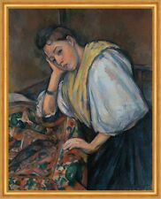 Young Italian Woman at a Table Paul Cezanne Italienerin Tisch Tücher B A1 02976