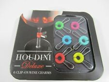 HOUDINI DELUXE CLIP ON WINE CHARMS SET OF 6 COLORFUL CHARMS METROKANE B3