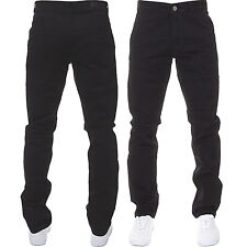 Mens Enzo DESIGNER Fashion Chinos Stretch SKINNY Slim Fit Jeans Pants All Sizes Black 46 In. 32l